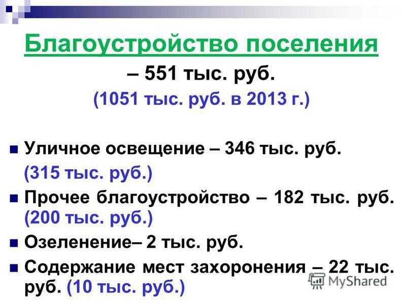 Благоустройство поселения – 551 тыс. руб. (1051 тыс. руб. в 2013 г.) Уличное освещение – 346 тыс. руб. (315 тыс. руб.) Прочее благоустройство – 182 тыс. руб. (200 тыс. руб.) Озеленение– 2 тыс. руб. Содержание мест захоронения – 22 тыс. руб. (10 тыс.