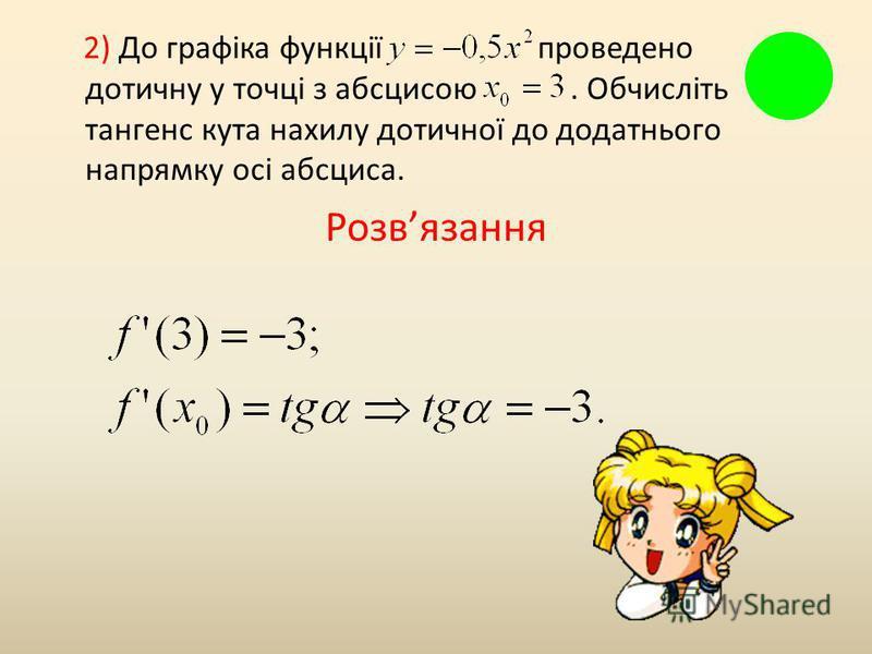 2) До графіка функції проведено дотичну у точці з абсцисою. Обчисліть тангенс кута нахилу дотичної до додатнього напрямку осі абсциса. Розвязання