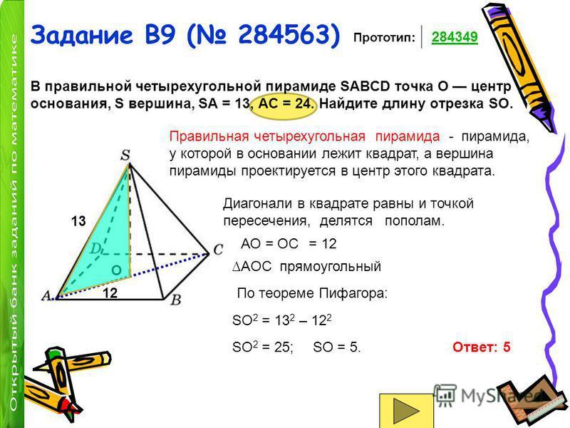 Задание B9 ( 284563) В правильной четырехугольной пирамиде SABCD точка O центр основания, S вершина, SA = 13, AC = 24. Найдите длину отрезка SO. O Прототип: 284349 1313 Правильная четырехугольная пирамида - пирамида, у которой в основании лежит квадр