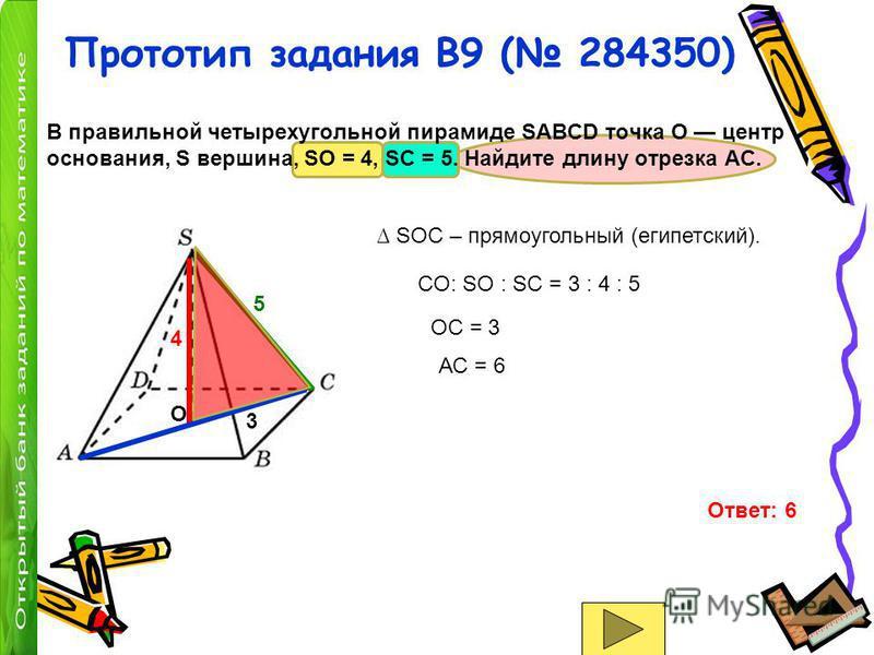 Прототип задания B9 ( 284350) В правильной четырехугольной пирамиде SABCD точка O центр основания, S вершина, SO = 4, SC = 5. Найдите длину отрезка AC. O 4 5 SOC – прямоугольный (египетский). CO: SO : SC = 3 : 4 : 5 3 OC = 3 АС = 6 Ответ: 6