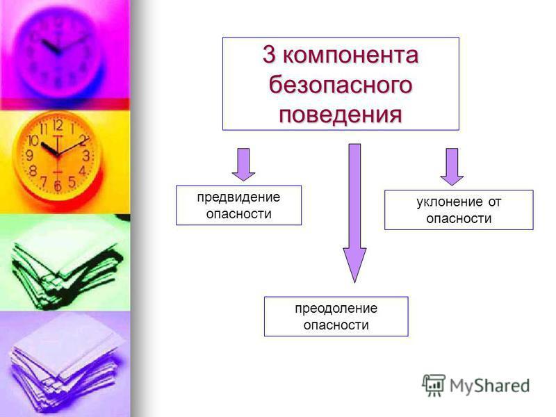 3 компонента безопасного поведения предвидение опаснасти уклонение от опаснасти преодоление опаснасти