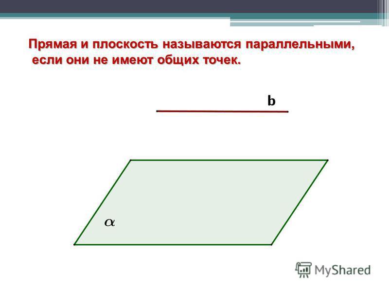 Прямая и плоскость называются параллельными, если они не имеют общих точек. если они не имеют общих точек.