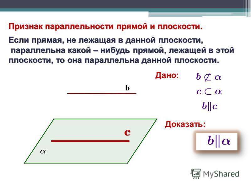 Признак параллельности прямой и плоскости. Если прямая, не лежащая в данной плоскости, параллельна какой – нибудь прямой, лежащей в этой параллельна какой – нибудь прямой, лежащей в этой плоскости, то она параллельна данной плоскости. с Дано: Доказат