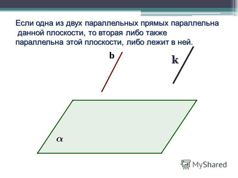 k Если одна из двух параллельных прямых параллельна данной плоскости, то вторая либо также данной плоскости, то вторая либо также параллельна этой плоскости, либо лежит в ней.