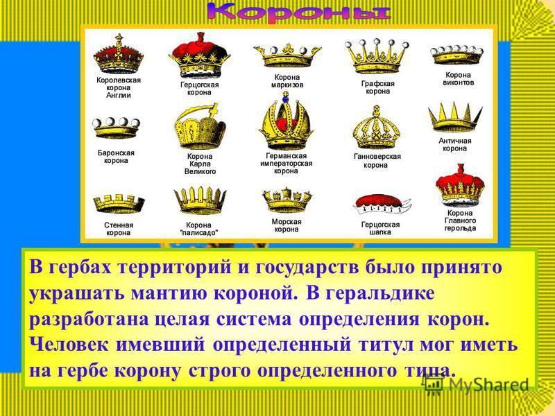 В гербах территорий и государств было принято украшать мантию короной. В геральдике разработана целая система определения корон. Человек имевший определенный титул мог иметь на гербе корону строго определенного типа.