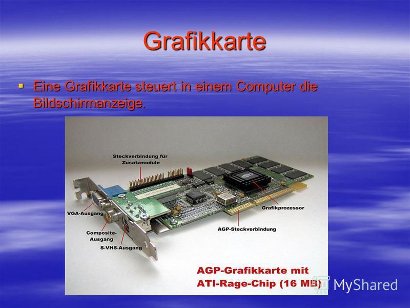 Grafikkarte Eine Grafikkarte steuert in einem Computer die Bildschirmanzeige. Eine Grafikkarte steuert in einem Computer die Bildschirmanzeige.