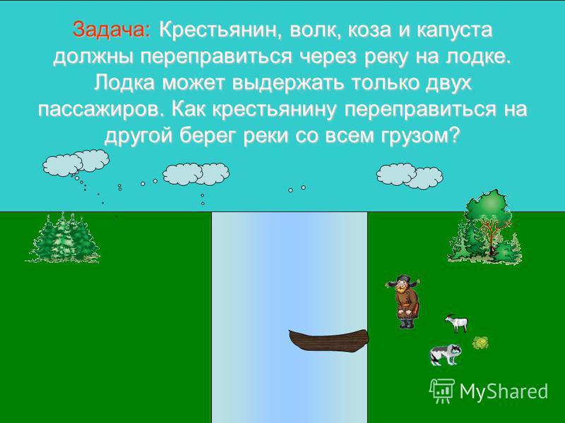 Задача:Крестьянин, волк, коза и капуста должны переправиться через реку на лодке. Лодка может выдержать только двух пассажиров. Как крестьянину переправиться на другой берег реки со всем грузом? Задача: Крестьянин, волк, коза и капуста должны перепра