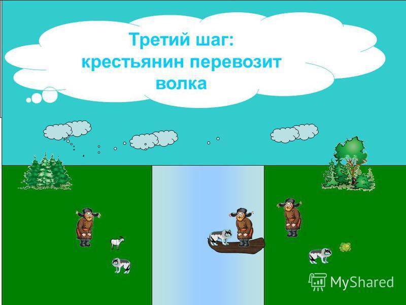 Третий шаг: крестьянин перевозит волка