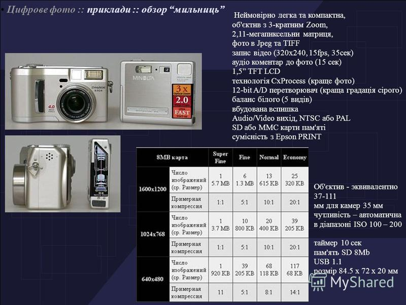 Цифрове фото :: приклади :: обзор мильниць Неймовірно легка та компактна, об'єктив з 3-кратним Zoom, 2,11-мегапиксельни матриця, фото в Jpeg та TIFF запис відео (320х240, 15fps, 35сек) аудіо коментар до фото (15 сек) 1,5 TFT LCD технологія CxProcess