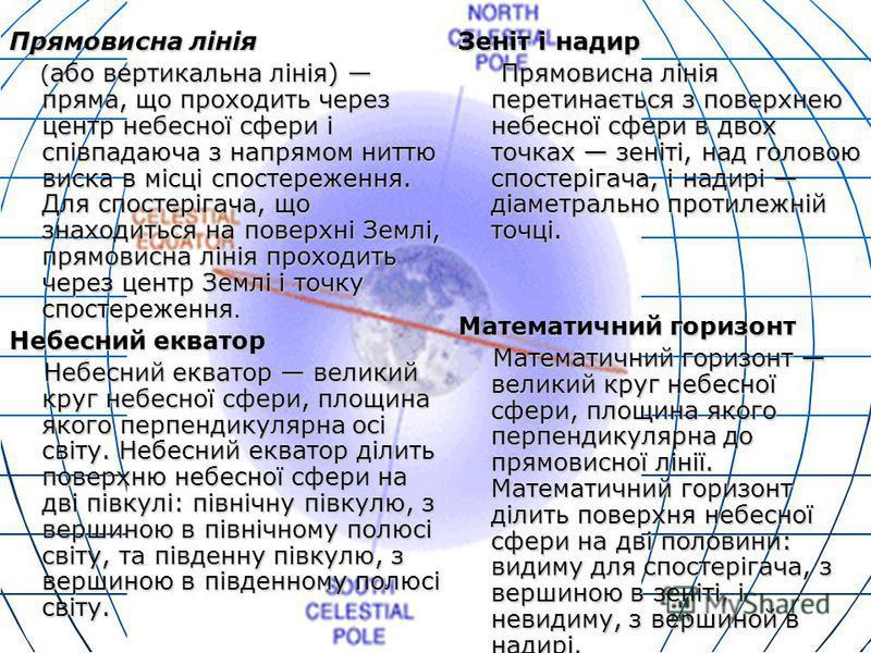 Прямовисна лінія ( або вертикальна лінія) пряма, що проходить через центр небесної сфери і співпадаюча з напрямом ниттю виска в місці спостереження. Для спостерігача, що знаходиться на поверхні Землі, прямовисна лінія проходить через центр Землі і то