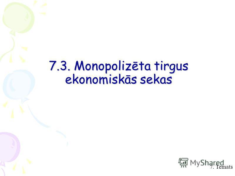 7. Temats 7.3. Monopolizēta tirgus ekonomiskās sekas