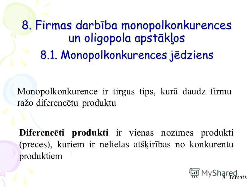 8. Temats 8. Firmas darbība monopolkonkurences un oligopola apstākļos 8.1. Monopolkonkurences jēdziens Monopolkonkurence ir tirgus tips, kurā daudz firmu ražo diferencētu produktu Diferencēti produkti ir vienas nozīmes produkti (preces), kuriem ir ne