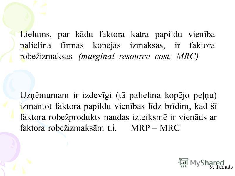 9. Temats Lielums, par kādu faktora katra papildu vienība palielina firmas kopējās izmaksas, ir faktora robežizmaksas (marginal resource cost, MRC) Uzņēmumam ir izdevīgi (tā palielina kopējo peļņu) izmantot faktora papildu vienības līdz brīdim, kad š