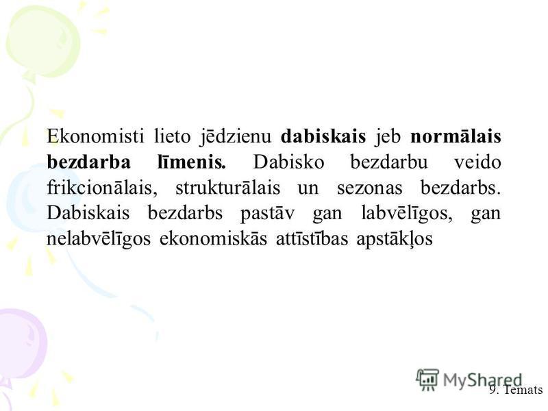9. Temats Ekonomisti lieto jēdzienu dabiskais jeb normālais bezdarba līmenis. Dabisko bezdarbu veido frikcionālais, strukturālais un sezonas bezdarbs. Dabiskais bezdarbs pastāv gan labvēlīgos, gan nelabvēlīgos ekonomiskās attīstības apstākļos