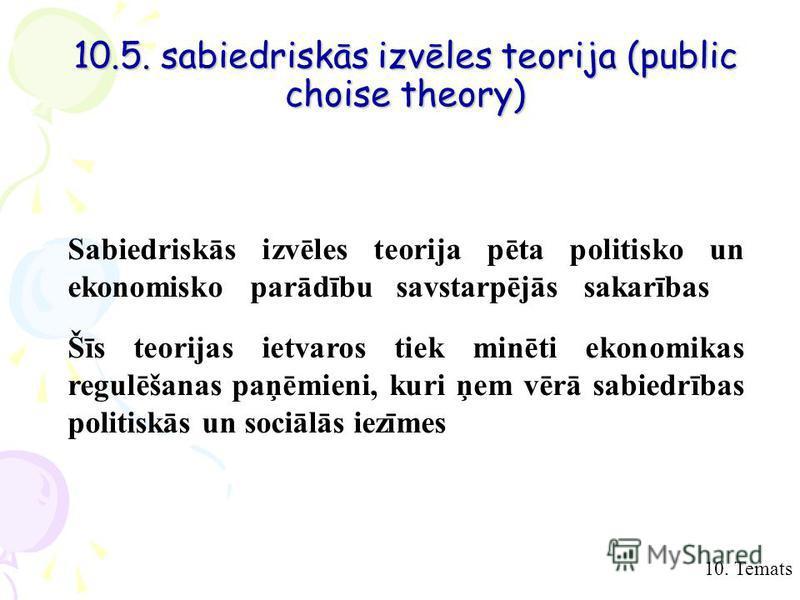 10.5. sabiedriskās izvēles teorija (public choise theory) 10. Temats Sabiedriskās izvēles teorija pēta politisko un ekonomisko parādību savstarpējās sakarības Šīs teorijas ietvaros tiek minēti ekonomikas regulēšanas paņēmieni, kuri ņem vērā sabiedrīb