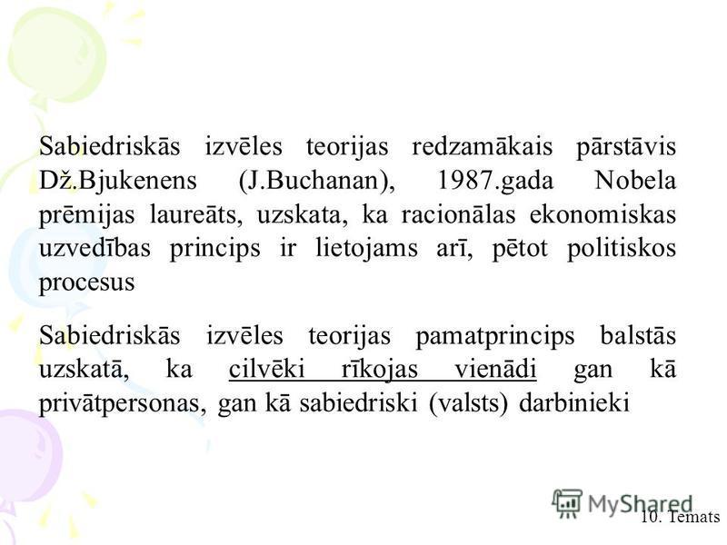 10. Temats Sabiedriskās izvēles teorijas redzamākais pārstāvis Dž.Bjukenens (J.Buchanan), 1987.gada Nobela prēmijas laureāts, uzskata, ka racionālas ekonomiskas uzvedības princips ir lietojams arī, pētot politiskos procesus Sabiedriskās izvēles teori