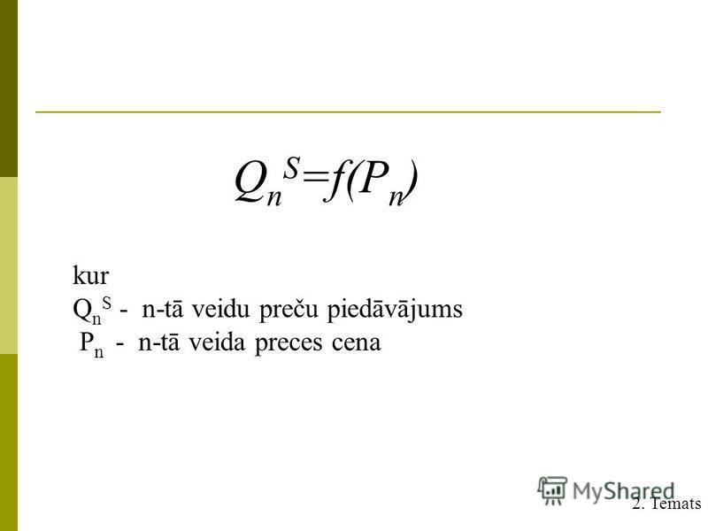 Q n S =f(P n ) kur Q n S - n-tā veidu preču piedāvājums P n - n-tā veida preces cena 2. Temats