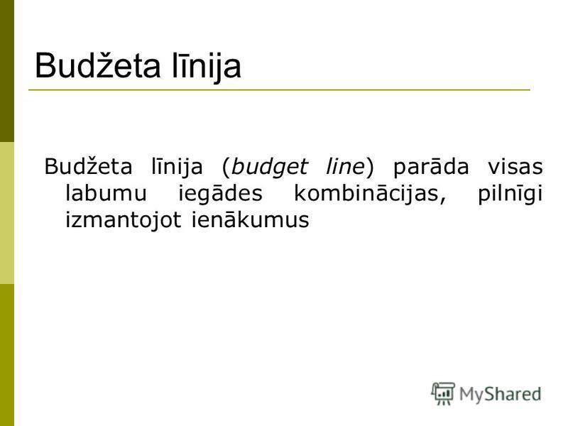 Budžeta līnija Budžeta līnija (budget line) parāda visas labumu iegādes kombinācijas, pilnīgi izmantojot ienākumus