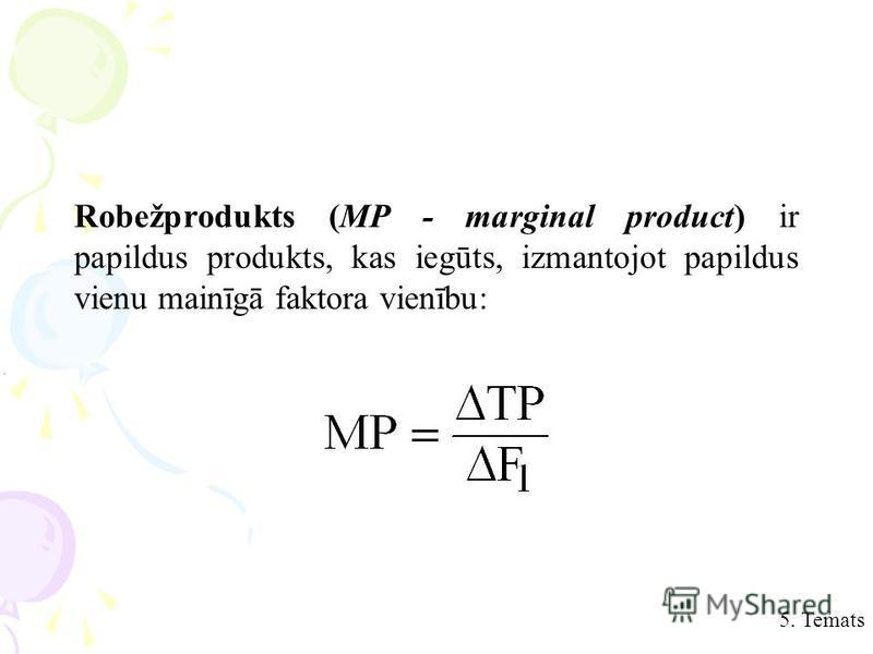 Robežprodukts (MP - marginal product) ir papildus produkts, kas iegūts, izmantojot papildus vienu mainīgā faktora vienību:.