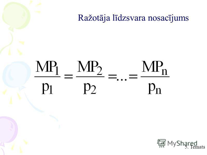 5. Temats Ražotāja līdzsvara nosacījums