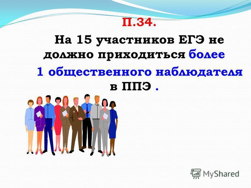 П.34. На 15 участников ЕГЭ не должно приходиться более 1 общественного наблюдателя в ППЭ.