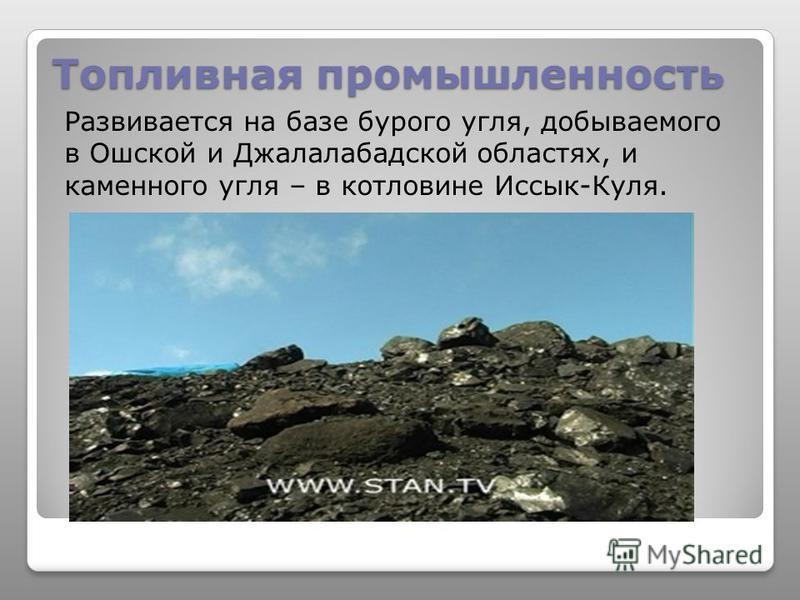 Топливная промышленность Развивается на базе бурого угля, добываемого в Ошской и Джалалабадской областях, и каменного угля – в котловине Иссык-Куля.