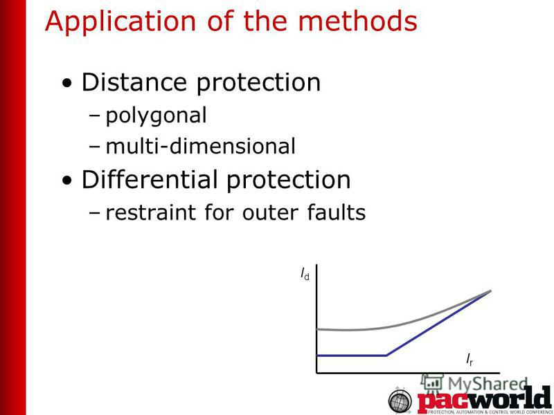 Application of the methods Distance protection –polygonal –multi-dimensional Differential protection –restraint for outer faults IdId IrIr