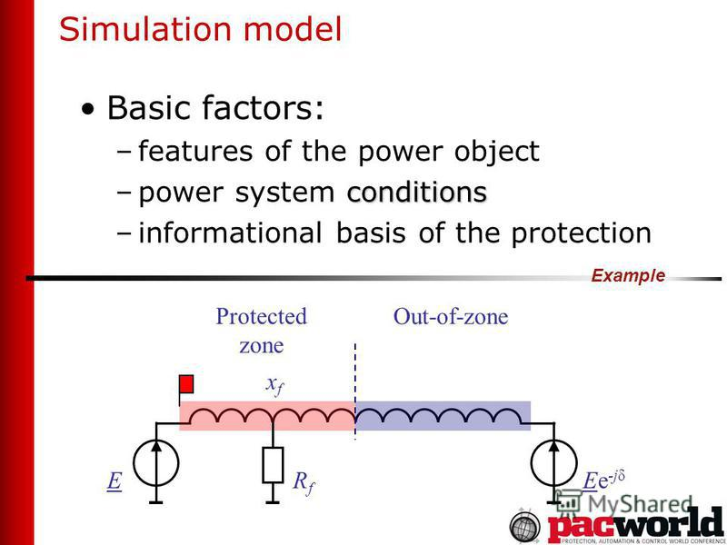 Simulation model Basic factors: –features of the power object conditions –power system conditions –informational basis of the protection Example Protected zone Out-of-zone xfxf RfRf EEe -jδ