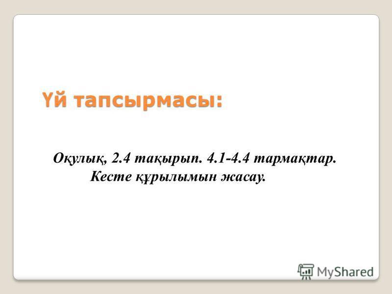 Ү й тапсырмасы: Оқулық, 2.4 тақырып. 4.1-4.4 тармақтар. Кесте құрылымын жасау.