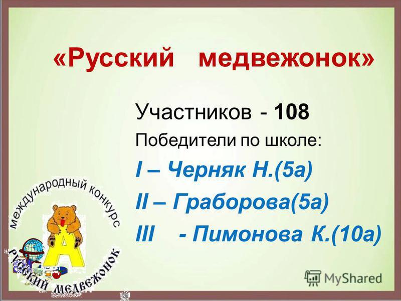 Участников - 108 Победители по школе: І – Черняк Н.(5 а) ІІ – Граборова(5 а) ІІІ - Пимонова К.(10 а) «Русский медвежонок»