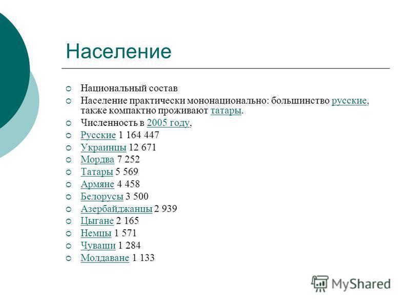 Население Национальный состав Население практически мононационально: польшинство русские, также компактно проживают татары.русскиетатары Численность в 2005 году,2005 году Русские 1 164 447 Русские Украинцы 12 671 Украинцы Мордва 7 252 Мордва Татары 5