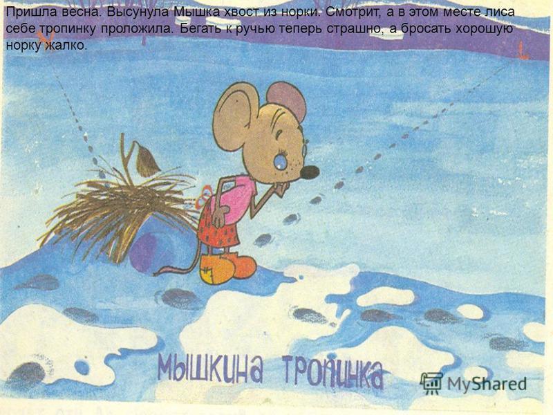 Пришла весна. Высунула Мышка хвост из норки. Смотрит, а в этом месте лиса себе тропинку проложила. Бегать к ручью теперь страшно, а бросать хорошую норку жалко.