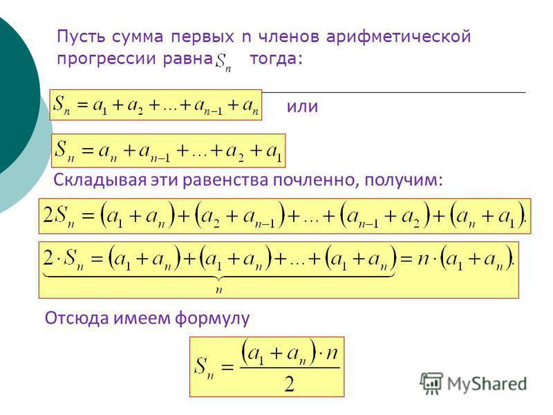 Пусть сумма первых n членов арифметической прогрессии равна тогда: или Складывая эти равенства почленное, получим: Отсюда имеем формулу