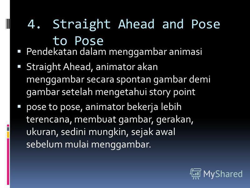 4.Straight Ahead and Pose to Pose Pendekatan dalam menggambar animasi Straight Ahead, animator akan menggambar secara spontan gambar demi gambar setelah mengetahui story point pose to pose, animator bekerja lebih terencana, membuat gambar, gerakan, u