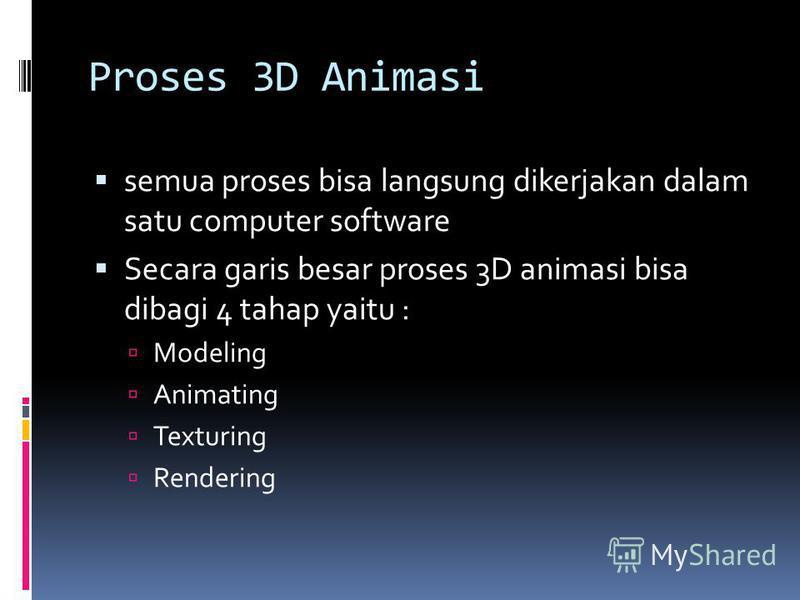 Proses 3D Animasi semua proses bisa langsung dikerjakan dalam satu computer software Secara garis besar proses 3D animasi bisa dibagi 4 tahap yaitu : Modeling Animating Texturing Rendering