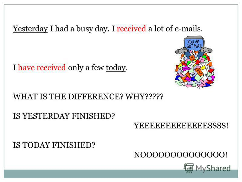 Yesterday I had a busy day. I received a lot of e-mails. I have received only a few today. WHAT IS THE DIFFERENCE? WHY????? IS YESTERDAY FINISHED? YEEEEEEEEEEEEESSSS! IS TODAY FINISHED? NOOOOOOOOOOOOOO!