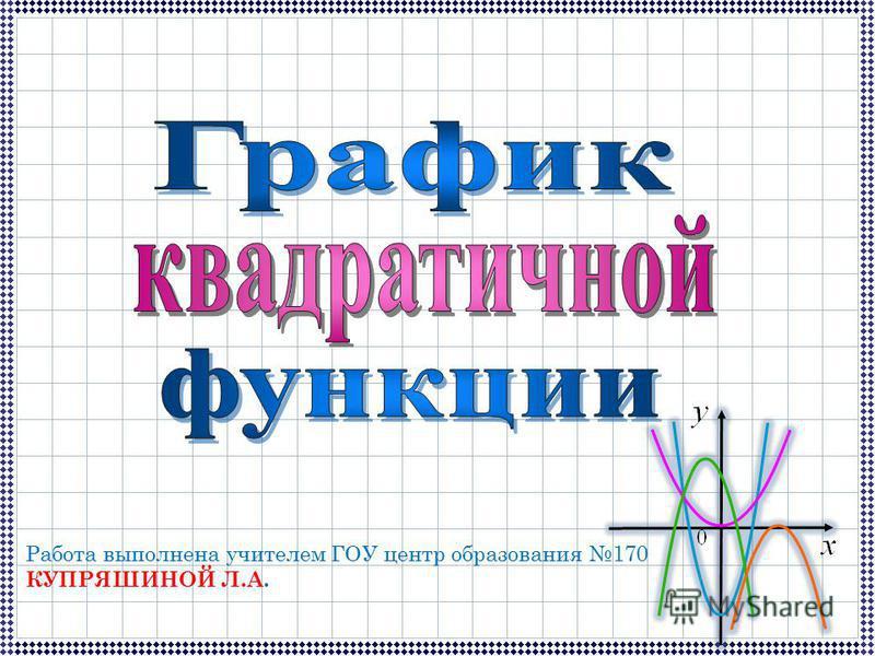 Работа выполнена учителем ГОУ центр образования 170 КУПРЯШИНОЙ Л.А.