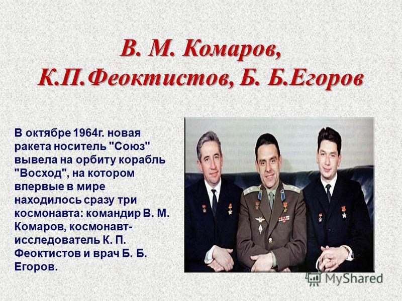 В. М. Комаров, К.П.Феоктистов, Б. Б.Егоров В октябре 1964 г. новая ракета носитель