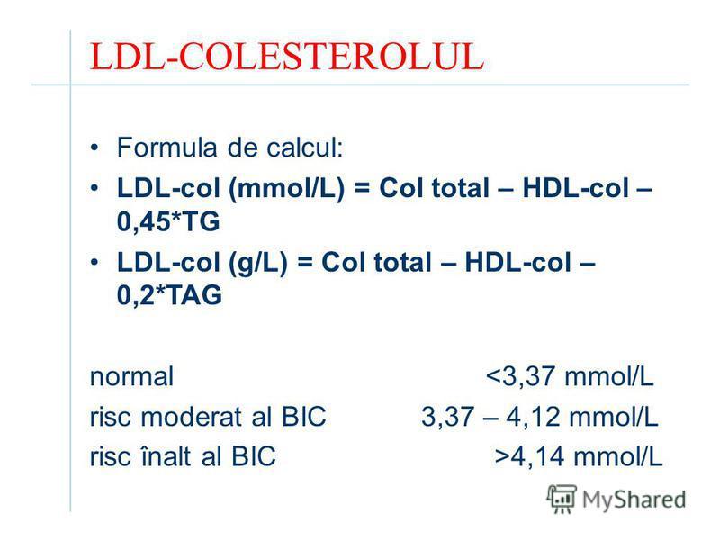 LDL-COLESTEROLUL Formula de calcul: LDL-col (mmol/L) = Col total – HDL-col – 0,45*TG LDL-col (g/L) = Col total – HDL-col – 0,2*TAG normal <3,37 mmol/L risc moderat al BIC 3,37 – 4,12 mmol/L risc înalt al BIC >4,14 mmol/L