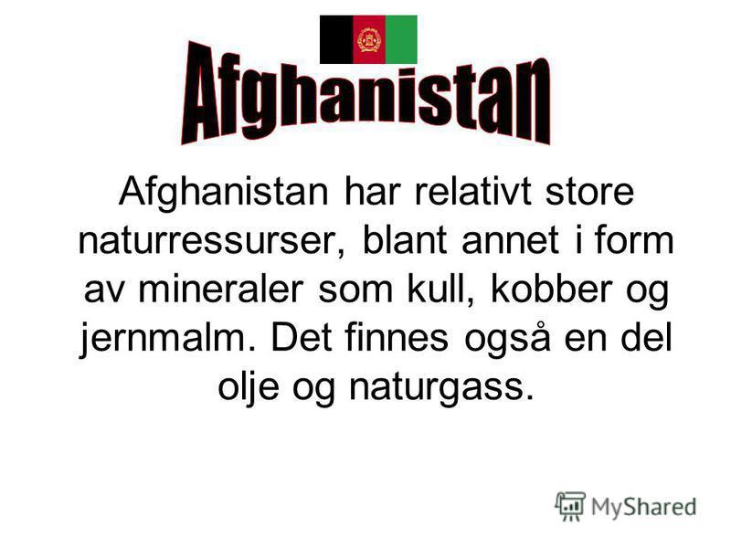 Afghanistan har relativt store naturressurser, blant annet i form av mineraler som kull, kobber og jernmalm. Det finnes også en del olje og naturgass.