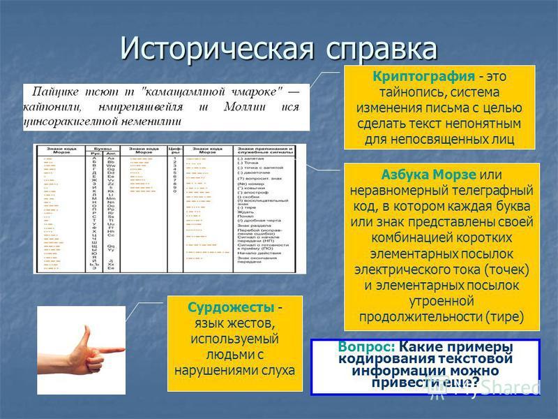 Рассматриваемые вопросы: - исторический экскурс; - исторический экскурс; - двоичное кодирование текстовой информации; - двоичное кодирование текстовой информации; - расчет количества текстовой информации. - расчет количества текстовой информации.
