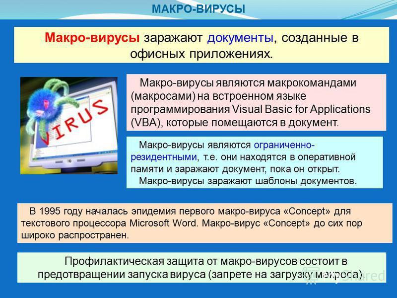 МАКРО-ВИРУСЫ Макро-вирусы заражают документы, созданные в офисных приложениях. Макро-вирусы являются макрокомандами (макросами) на встроенном языке программирования Visual Basic for Applications (VBA), которые помещаются в документ. Профилактическая