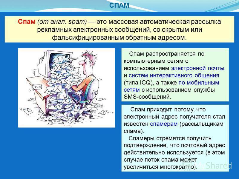 СПАМ Спам (от англ. spam) это массовая автоматическая рассылка рекламных электронных сообщений, со скрытым или фальсифицированным обратным адресом. Спам распространяется по компьютерным сетям с использованием электронной почты и систем интерактивного