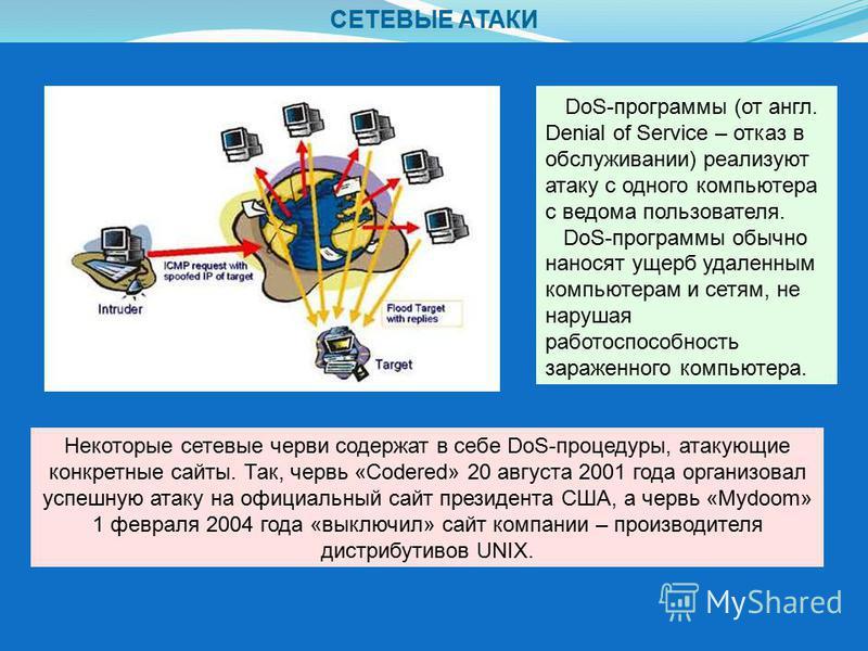 СЕТЕВЫЕ АТАКИ DoS-программы (от англ. Denial of Service – отказ в обслуживании) реализуют атаку с одного компьютера с ведома пользователя. DoS-программы обычно наносят ущерб удаленным компьютерам и сетям, не нарушая работоспособность зараженного комп