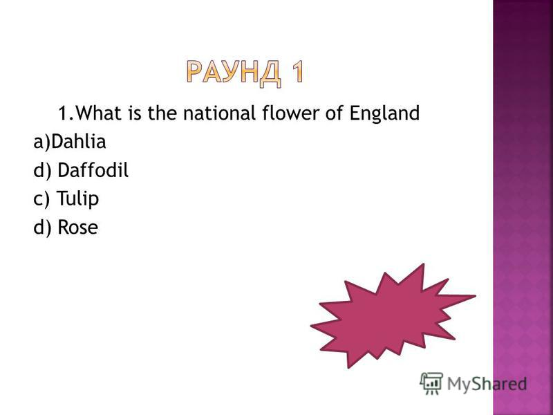 1. What is the national flower of England a)Dahlia d) Daffodil c) Tulip d) Rose