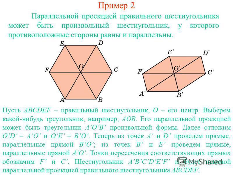 Пример 2 Параллельной проекцией правильного шестиугольника может быть произвольный шестиугольник, у которого противоположные стороны равны и параллельны. Пусть ABCDEF – правильный шестиугольник, O – его центр. Выберем какой-нибудь треугольник, наприм