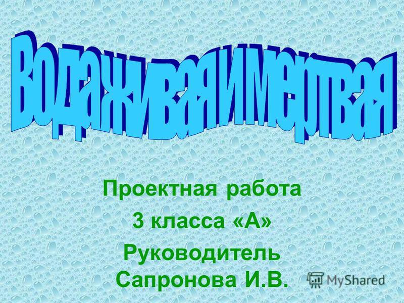 Проектная работа 3 класса «А» Руководитель Сапронова И.В.