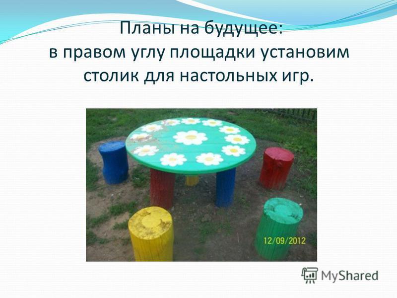 Планы на будущее: в правом углу площадки установим столик для настольных игр.