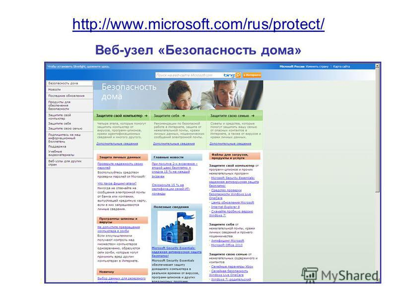http://www.microsoft.com/rus/protect/ http://www.microsoft.com/rus/protect/ Веб-узел «Безопасность дома»