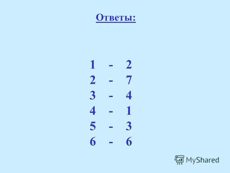 Ответы: 1 - 2 2 - 7 3 - 4 4 - 1 5 - 3 6 - 6
